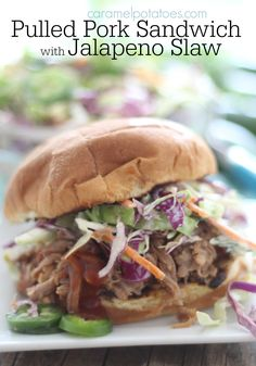 Pulled Pork Sandwich with Jalapeno Slaw Bbq Pork Sandwiches, Bbq Sandwich, Coleslaw For Pulled Pork, Pulled Pork Recipes, Jalapeno Coleslaw, Coleslaw Recipes, Classic Coleslaw Recipe, Jalapeno Recipes, Slow Cooked Meals