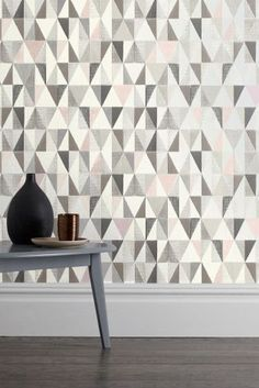 Geo Is THE Print Of The Season! Combined With Pink And Grey, This Wallpaper