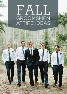 Healthy Snacks for Your Wedding Day 7 great fall groomsmen attire ideas. {via Project Wedding} Tuxedo Wedding, Wedding Men, Wedding Suits, Dream Wedding, Wedding Ideas, Casual Fall Wedding, Black Suit Wedding, Casual Wedding Attire, Forest Wedding