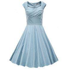 Light Blue Polka Dot Vintage Dress