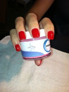 Classic red nails.