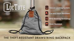 LocTote Flak Sack in the Cafe - TOUGHEST SLASH AND THEFT RESISTANT DRAWSTRING BACKPACK.
