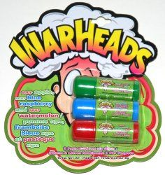 War Heads Sour Mini Lip Gloss 3 Pack, Sour Apple, Blue Raspberry and Watermelon...gives new meaning to the term: Pucker up!