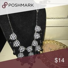 Black and white chevron bubble necklace Bubble necklace Jewelry Necklaces