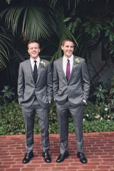 grey two button suit with and with out vest