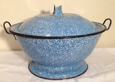 Antique Blue & White Speckled Enamelware Dough Riser Bowl With Original Lid 14""
