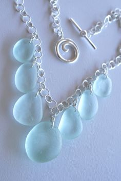 I just LOVE sea glass!!  This color blue is dreamy! Sea Glass Jewelry Light Aqua Drops Necklace
