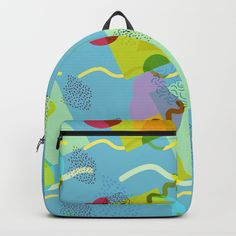Neo Memphis Fun - Blue Backpack by squibble https://society6.com/product/neo-memphis-fun-blue_backpack