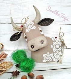 Golden Calf, Toy Organization, Cotton Lace, Cow, Textiles, Symbols, Christmas Ornaments, Sewing, Holiday Decor