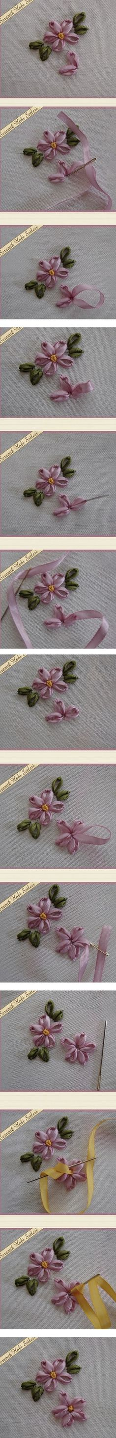 Wonderful Ribbon Embroidery Flowers by Hand Ideas. Enchanting Ribbon Embroidery Flowers by Hand Ideas. Ribbon Embroidery Tutorial, Silk Ribbon Embroidery, Embroidery Stitches, Embroidery Patterns, Hand Embroidery, Flower Embroidery, Ribbon Art, Ribbon Crafts, Ribbon Flower