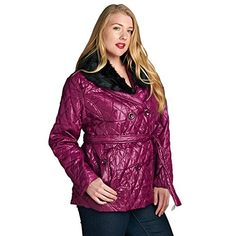 Women's Plus Size Lightweight Faux Fur Double Breasted Puffer Belted Wrap Jacket * You can get more details by clicking on the image.
