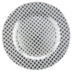 Silver Lace Glass Charger¦ Crafted in Europe, our charger features a faceted pattern with a silver-leaf finish on the reverse, so the top surface has a jewel-like sparkle while remaining perfectly smooth. It's the perfect setting for special dinnerware, or everyday dinnerware that wants to feel special.