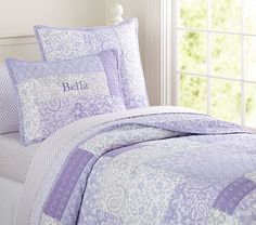 Bella Patchwork Quilted Bedding #pbkids LOVE the patchwork quilt in purple in a youthful print