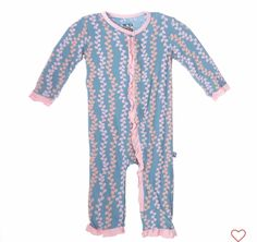Kickee Pants Ruffle Coverall- Blue Moon Seaweed