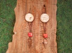 Shell and Red Jasper Earrings with Tribal by mirabiliajewelry, $30.00