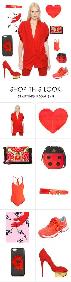 """Fashion red"" by emmamegan-5678 ❤ liked on Polyvore featuring Alexandre Vauthier, ban.do, JADEtribe, Charlotte Olympia, Mikoh, Brooks Brothers, Jules Julien, adidas, Fendi and vintage"
