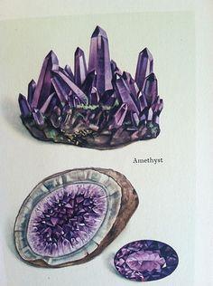 antique GEMSTONE PRINT jewel AMETHYST purple QUARTZ crystalline GEODES GEM  #16