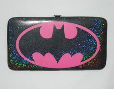 Hot Pink Batman Logo Holographic Glitter Vinyl Wallet by VampireVixen13 on eBay