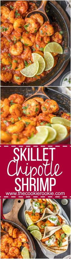 This SKILLET CHIPOTLE SHRIMP is our favorite easy shrimp recipe! Smokey, spicy, and so flavorful! This chipotle shrimp is perfect over pasta or rice for a simple and healthy dinner at home. via @beckygallhardin