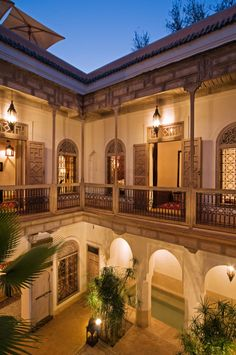 Superb four bedroom Marrakech riad hotel for sale with stunning architecture - and a pool and a hammam - designed by Christophe Simeone.