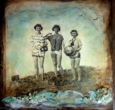 "'Well Hello Ladies!'  Encaustic, oil, vintage photo transfer (my Mom in the center), and objects on panel, 12x12"" sold"