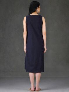 Navy Hand Embroidered Sleeveless Cotton Dress