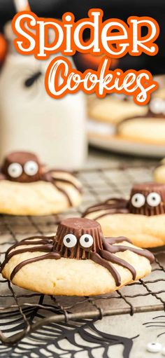 Our Halloween Spider Cookies are the easiest and cutest Halloween dessert ever! All you need is your favorite cookie, Reese's Peanut Butter Cups, candy eyes, and some chocolate drizzle! Easy no-bake dessert! Halloween Cookie Recipes, Halloween Cookies, Halloween Sweets, Halloween Baking, Halloween Food For Party, Easy Cookie Recipes, Holiday Baking, Halloween Spider, Halloween Tips