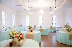 Burlap runner with teal tablecloth