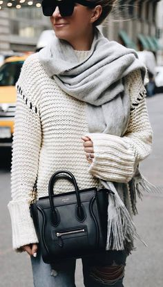 how to style a cashmere scarf : white knit sweater + bag + rips