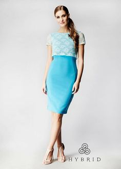 ada5e29472f Hybrid Margret Lace Overlay Top Dress in Mint and Azure Blue  www.hybridfashion.com