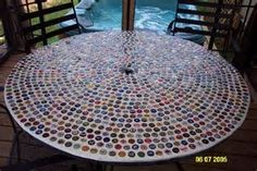 Image result for bottle cap mosaic table top