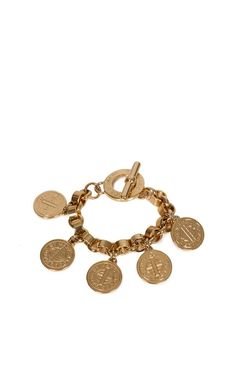 Bracelet from Marc by Marc Jacobs with thick link and toggle clasp. The bracelet has five major jewelry with Marc by Marc Jacobs text.