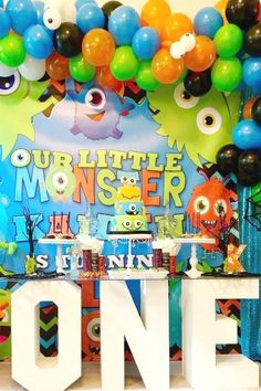 Chynna M's Birthday / Little Monsters Party - Photo Gallery at Catch My Party Boys 1st Birthday Party Ideas, First Birthday Cakes, 1st Boy Birthday, Birthday Party Decorations, Halloween Dessert Table, Halloween Party, Monster 1st Birthdays, First Birthdays, Little Monster Party