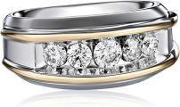 Mens Two-Tone Gold 1 Carat Diamond Artisan Wedding Band Mens Emerald Rings, Mens Gold Rings, Diamond Rings, Diamond Cuts, Rings For Men, Rose Gold Texture, Princess Cut Diamonds, Topaz Ring, 1 Carat