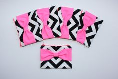 Neon Bachelorette Favors / Bridesmaid Gift Set - Black Chevron Neon Pink Bows - Choice of Bow Style by AlmquistDesignStudio on Etsy