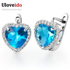 Find More Stud Earrings Information about Austrian Crystal Earring Silver Heart Earrings with Blue Stone Women's CZ Diamond Jewelry Stud Earrings Gift Girlfriend R144,High Quality earring part,China silver earings Suppliers, Cheap silver tray with handles from D&C Fashion Jewelry Buy to Get a Free Gift on Aliexpress.com