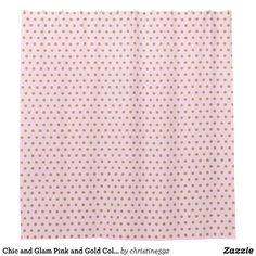 Chic And Glam Pink Gold Color Polka Dots Shower Curtain