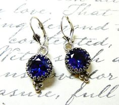 "Sterling silver ""Something Blue"" Sapphire Earrings on Etsy, $155.00"