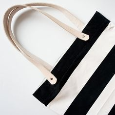 Black and White Striped Tote by ribandhull on Etsy, $49.00