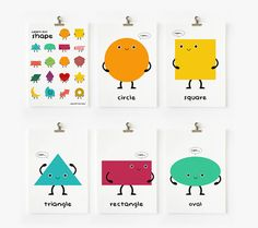 Children Decor Cute Geometric Shapes Flash Cards set of 18, Kids Wall Art, Children's Art