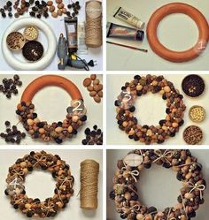 icu ~ Pin on Pine cone wreath ~ Best 12 Beautiful Fast & Easy DIY Pinecone Wreath ( Improved Version!) – A Piece Of Rainbow – SkillOfKing. Easy Christmas Crafts, Christmas Projects, Christmas Wreaths, Christmas Decorations, Acorn Crafts, Pine Cone Crafts, Crafts With Acorns, Farmhouse Christmas Decor, Rustic Christmas
