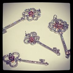 Pink and white diamond keys from Tiffany & Co