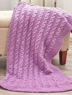 Free Knitting Pattern for Easy Exquisite Cabled Throw