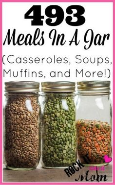 List of 400+ recipes for meals in a jar that you can make at home to stretch your grocery budget. Includes casseroles and meals for every occasion.
