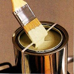 When painting, wrap rubber bands around a paint can across the opening. Wipe your brush against the rubber bands instead of the side of the can. Paint falls back inside, leaving the grooves around the can clean, saving you paint and the hassle of a stuck lid.
