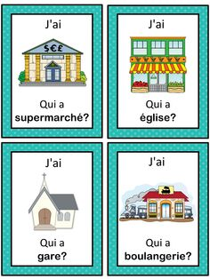 French version of the I have . This French game can be played to practice French town words. The game has 39 cards with a colorful frame and 39 cards with a simple black frame to save you ink. There are 4 cards per page. Learning Resources, Teaching Tools, French Worksheets, French For Beginners, Learning A Second Language, French Education, Core French, French Classroom, French Resources