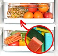 22 Brilliant Laundry Room Organization Hacks - Small Joys - Sponge in Fruit and Vegetable Drawer - sm. Bathroom Cleaning Hacks, Diy Cleaning Products, Laundry Room Organization, Organization Hacks, Housing A Forest, Vegetable Drawer, Messy Room, Shower Cap, Good House
