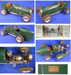 Vintage Miniature Racing Cars - Tether Cars - Dennymite, Bunch, Dooling, Hornet, McCoy, Alexander, Bremer Whirlwind, Hiller, BB Korn, Duesenberg, Antique, Vintage, Toy Car, Race, Racer, Pylon, Petrol