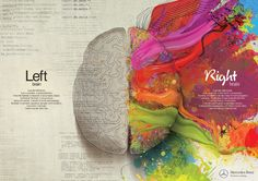This is such a neat visual of the difference between Left and Right brain. Unfortunately my left and right brain don't speak. Left Brain Right Brain, Your Brain, Brain Painting, Mercedes Benz, Web Design, Creative Design, Print Design, Design Layouts, Design Blog