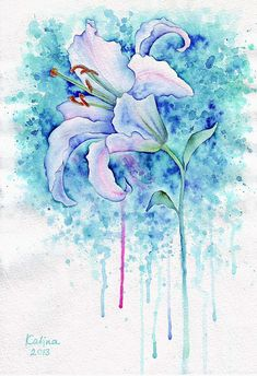 Watercolor flower Paintings by Russian artist Zhanna Kabina.